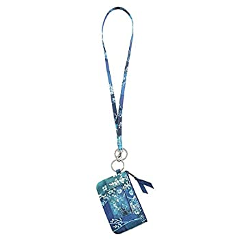 Lam Gallery Fashion Lanyard Wallet for Womens Zip ID Card Case with Wallet Badge Holder Lanyards for Office School Multicoloured Dark Blue