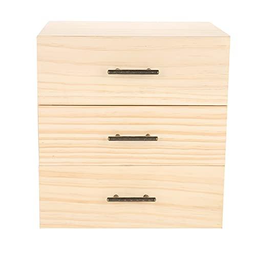 Caja de madera de 90 ranuras para aceites esenciales con tres cajones, contenedor de botellas de aceite esencial de tres niveles, caja de almacenamiento de madera, caja organizadora