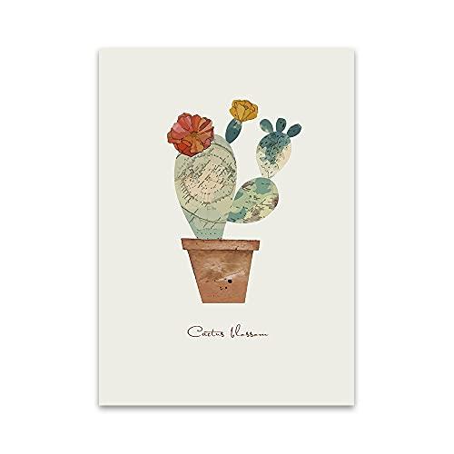 JHGJHK Exquisito Lienzo Pintura Mural Carteles e Impresiones decoración del hogar Simple Pluma de Cactus Sala de Estar Dormitorio
