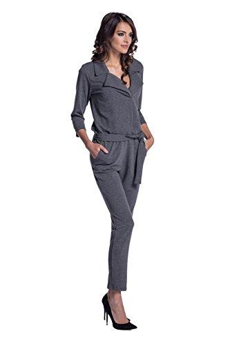 Lemoniade eleganter Jumpsuit mit 3/4-Ärmel, elegantem Kragen und ausgefallener Schnürung an der Hüfte (M (38), Modell 2 Dunkelgrau)