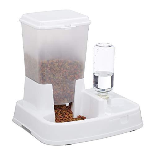 Relaxdays Wasser- und Futterspender, Futterautomat Katzen & Hunde, mit Flasche, Kunststoff, HBT 34x34,5x27,5 cm, weiß