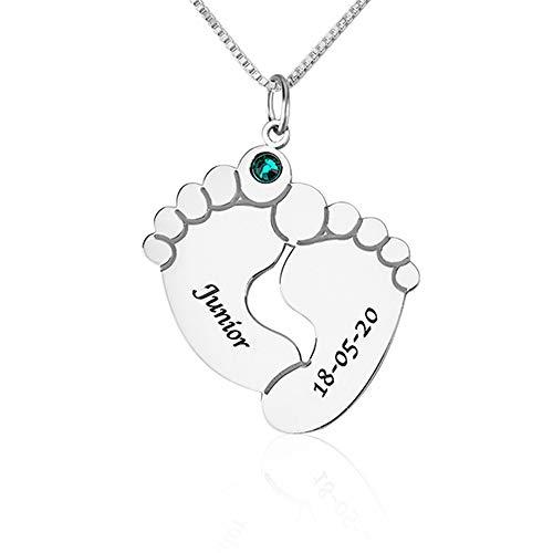 Junmei Collar Personalizado para pies de bebé con Fecha y Nombre Colgante Grabado con Nombre de Huella con Piedra Natal