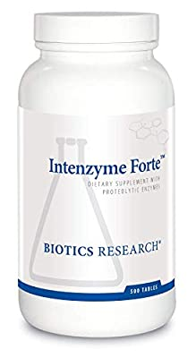 Biotics Research Intenzyme Forte Proteolytic Enzymes, Pancreatin, Bromelain, Papain, Lipase, Amylase, Protein Metabolism. 500 tabs