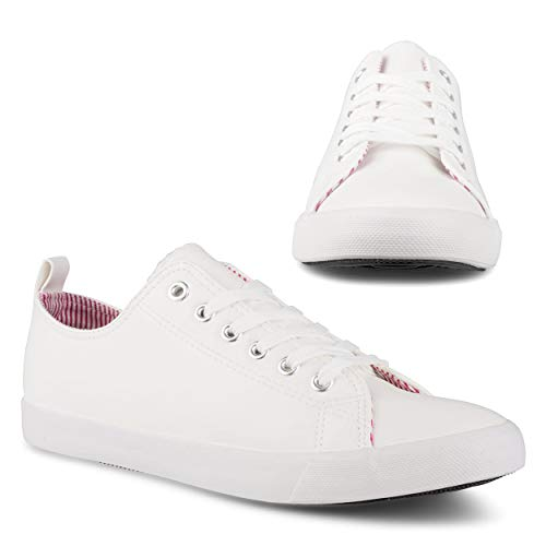 Twisted Fashion Sneakers for Women, Low Rise, Ladies White Canvas Lace Shoes, White, 8