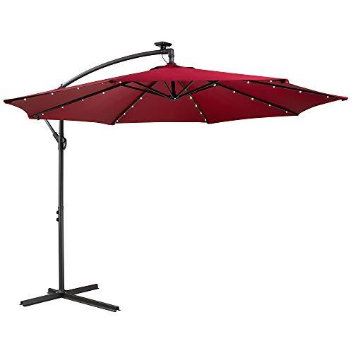 Arebos Sonnenschirm mit LED Gartenschirm, Terrassenschirm, Balkonschirm, Ampelschirm mit Kurbel aufklappbar in Rot, Grün, Creme oder Anthrazit (wählbar) (Rot)