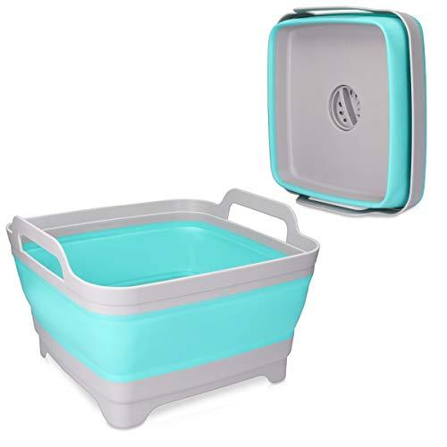 Navaris Faltschüssel Waschschüssel Spülschüssel mit Abfluss - 10l Schüssel für Camping oder Küche - Abwaschschüssel Eimer Wanne - faltbar