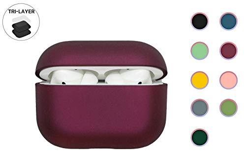 Festes Kunststoff Hülle für AirPods Pro, Süssigkeiten matt Farben, robuste & stabile Hülle für alle AirPod mit LED-Anzeige & kabelloser Ladefunktion (Rotwein)