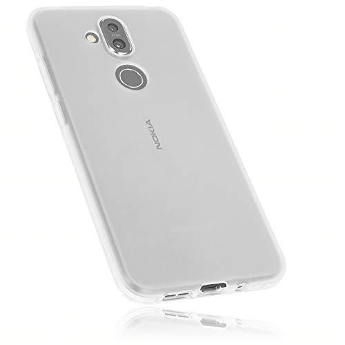 mumbi Hülle kompatibel mit Nokia 8.1 Handy Hülle Handyhülle, transparent weiss