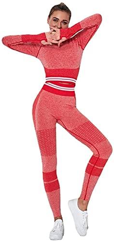 MoreJieka Conjunto de 2 piezas de yoga para mujer, traje de gimnasio, ropa deportiva, chándal de manga larga y pantalones, rosso, L