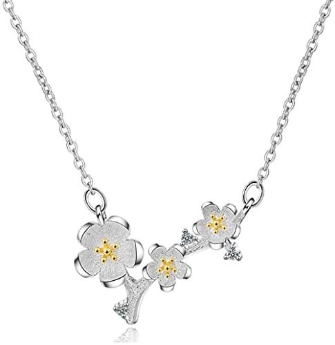 NC110 Collar con Colgante de Plata de Ley 925, joyería Elegante de Flor de Cerezo para Mujer, sin decoloración, YUAHJIGE