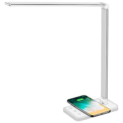 SODIAL Lampe de Bureau LED Multifonctionnelle avec Chargeur Sans Fil, Port de Charge USB, 5 Modes D'éClairage, 5 Niveaux de Luminosité, Contr?le Sensible, Minuterie Automatique