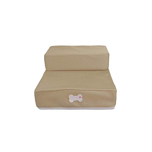 Dresses Dog Bed | 2020 Dog Stairs Removable Pet Ladder Breathable Mesh Material Dog House Pet Products Portable Small Dogs Puppy Sofa Bed-Pink HLSJ (Color : Khaki, Size