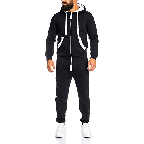 LOSIBUDSA Mens Jumpsuit Drawtsring Hooded Zip up One Piece Tracksuit with Pockets (Black, X-Large)
