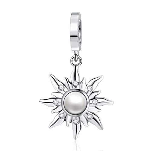 JIAYIQI Ciondolo a forma di sole, in argento Sterling 925, per braccialetti Pandora, da donna
