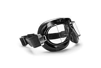 Bertoni Vintage Motorcycle Goggles with Antifog and Anticrash Squared Lenses - Matt Black Steel Rim - AF193A Motorbike Aviator Glasses by Bertoni Italy