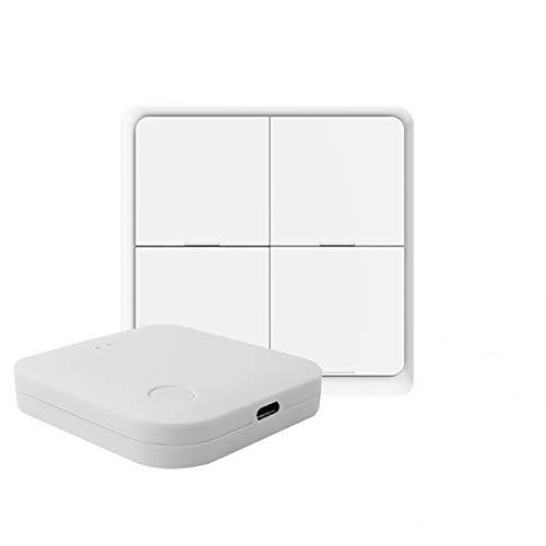 MOZUN Interruptor inteligente ZigBee, interruptor de botón de escena de panel de 4 vías, no requiere cableado, utilizado con la solución Tuya Zigbee Gateway Hubã Switch + Smart Gateway Hubã