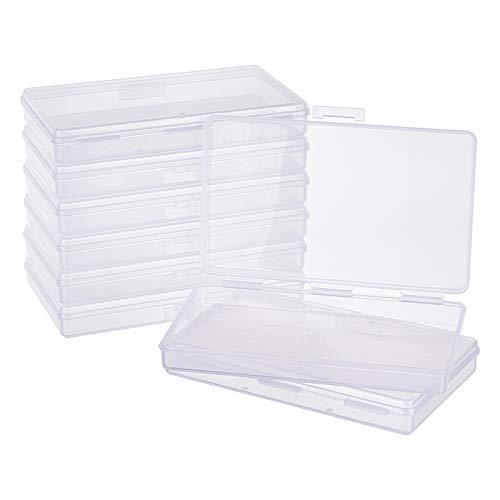 BENECREAT 8 Pack Scatole Rettangolari in Plastica Trasparente 15x9.5x2cm per Riporre Le Perline con Coperchi Ribaltabili per Matite, Strumenti in Vinile e Altri Oggetti