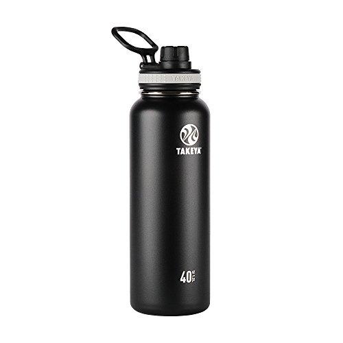 Takeya Originals vakuumisolierte Edelstahl-Wasserflasche, 1,2 l, Schwarz
