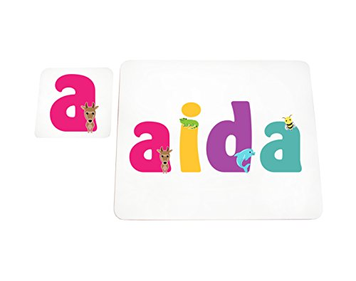 Little Helper LHV-AIDA-COASTERANDPLACEMAT-15IT Dessous de verre et sets de table avec finition brillante, personnalisés pour filles Nom Aïda, multicolore, 21 x 30 x 2 cm