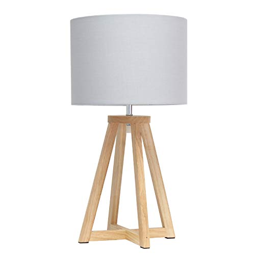 Simple Designs LT1069-NGY Interlocked Triangular Wood Fabric Shade Table Lamp, Natural/Gray