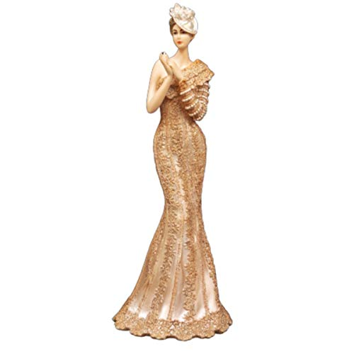 Maisonica Art Deco Bolero Lady in gouden jurk met hoed beeldje ornament 34cm