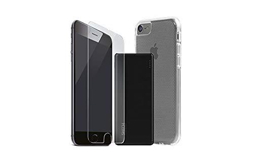 SKECH Matrix accessoires Pack 3in1 siliconen hoes bumper 9H veiligheidsglas echt glas transparant compatibel met iPhone 7, 5000mAh powerbank oplader externe accu