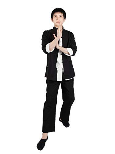 CoolChange Traje de Combate Chino para el Kung Fu/ Thai Chi | Negro | algodón | Talla: L