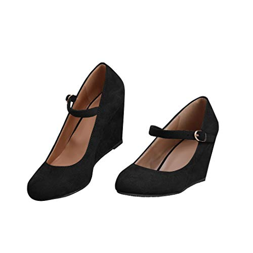 Womens Wedge Pumps Mary Jane Ankle Strap High Heel Round Toe Office Work Wedding Shoes Black
