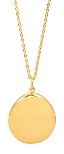 Pernille Corydon Damen Halskette Hepburn Gold runder Anhänger extra lang Silber vergoldet - PCO-N020g