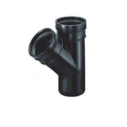 AquaForte 45 ° T avec 2 x/1 x connecteur/Courroie Connexion Diamètre 75 mm, Noir, 17,8 x 22,8 x 9.0 cm