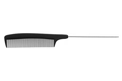 Eurostil Peigne Carbone Peigne 223 mm Queue Peigne Noir avec Compartiment Métal Pointe
