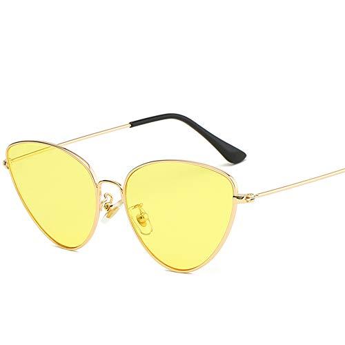 Stijlvolle driehoekige zomerbril voor dames Optische vintage spiegel Koel montuur Metaal UV400 gepolariseerd goud