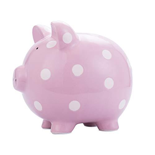 WYH Decoración Preciosa Hucha de cerámica para niños Que Ahorra Caja de Monedas para niñas niños Recuerdo de cumpleaños decoración del hogar Hucha Caja Fuerte (Color : Pink)