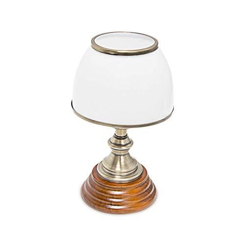 Relaxdays Tischlampe Holz Jugendstil mit Glasschirm weiß Messing-Optik 10018911