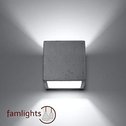famlights Wandleuchte Luis aus Beton, Weiß | Wandlampe modern Wohnzimmer-Lampe edel Treppenhaus Neubau Rohbau Wandbeleuchtung Uplight Downlight Esszimmer-Lampe Flur-Lampe Beton-Lampe Wandstrahler G9