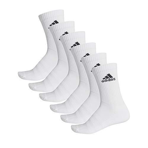 adidas Cush CRW 6PP Calcetines, Unisex Adulto, Top:White/White/White/White Bottom:White/White, S