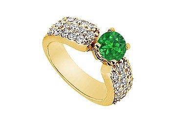 Emerald and Diamond Engagement Ring 14K Yellow Gold 2.00 CT Diamonds