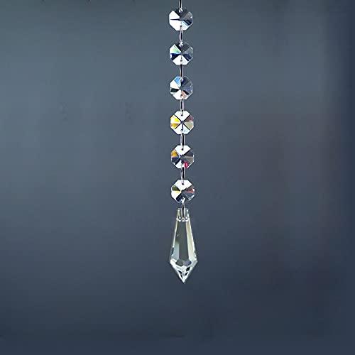 6 perlas octagonales + 1k9 Asamblea de cuentas puntiagudas de 1k9, lámpara de cristal hecha a mano de bricolaje Candela de candelabro prisma Partes colgantes Partes, regalo de hadas / decoración de la