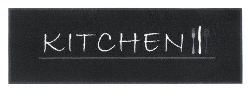 Teppich Läufer Kitchen Wash Küchenläufer Style &Cook Home Matte waschbar mit Motiv Brücke 50x150 cm schwarz rutschfest für Küche