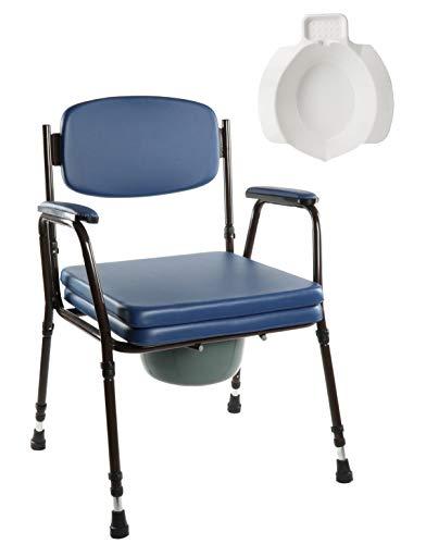 OrtoPrime WC-bril met toiletbril voor oudere mensen en kinderen, incl. reservebid, in 7 standen verstelbaar, badkamerstoel met deksel, orthopedische armleuningen, gewicht max. 125 kg.