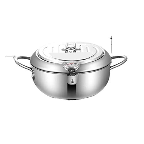 Toutou Deep Fryer with Lid, Tempura Fryer with Oil Filter Rack, 20cm, Suitable for Gas Stove, Induction Cooker, Electric Stove and Other Stoves,20cm