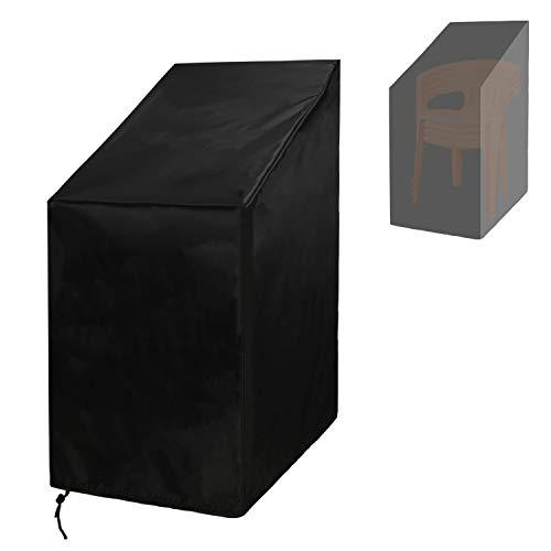 Funda para silla apilable de patio, impermeable, resistente al viento, antirayos UV 210D, tela Oxford resistente a desgarros para sillas apilables, protector de muebles al aire libre