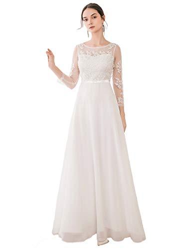 Ever-Pretty Simple Robe de Mariée pour Mariage Longue Femme Soirée Dentelle Appliques Manche Longue Blanc 44