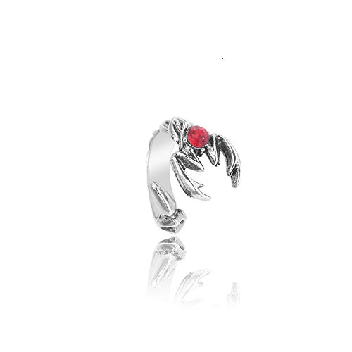 Vintage Punk Ring For Men Women Hip Hop Hollow Red Crystal Retro Adjustable Rings Cool Jewelry Gift