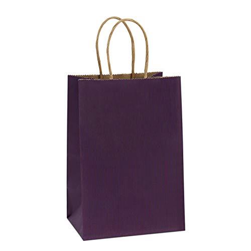 """BagDream Kraft Paper Bags 100Pcs 5.25""""x3.25""""x8"""", Rose, Shopping Bag, Kraft Bags, Purple Bags with Handles"""
