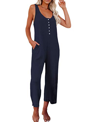 Happy Sailed Womens Loose Sleeveless Scoop Neck Summer Tank Top Long Thermal Knit Jumpsuit Rompers with Pockets Blue M