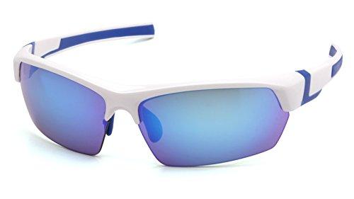 Pyramex Safety Products Venture Gear Tensaw Half-Frame High Performance Safety Eyewear, White-Blue Frame, Ice Blue Mirror Anti-Fog Lens