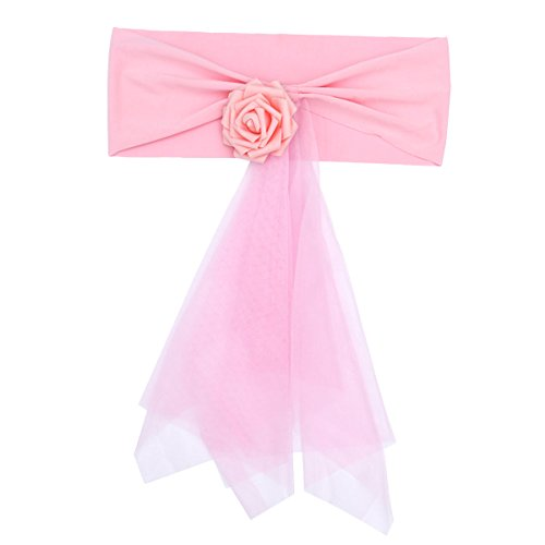 Amosfun Chair Organza Bowknot for Wedding Party Birthday Banquet Events Supplies Chair Cover Sash Decoration (Pink)