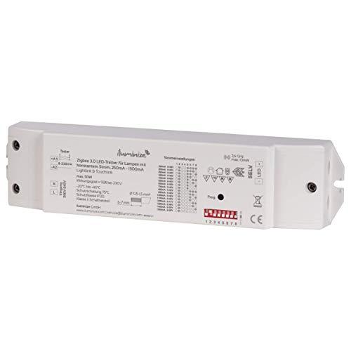 iluminize Zigbee 3.0 Aktor, 50W, dimmen bei einstellbaren 200mA-1500mA Konstantstrom, optionaler Taster-Anschluss, max. 48V, 230V Anschluss, Lightlink & Touchlink, für dimmbare LED-Panels/LED-Spots