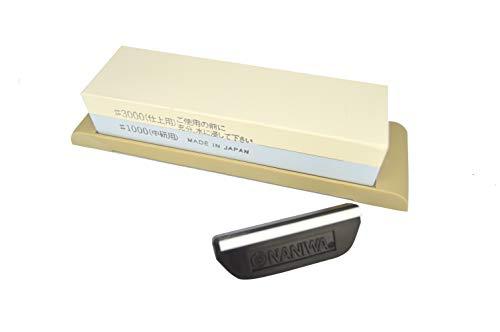 Pierre à aiguiser à eau japonaise Suehiro - Affûte-couteaux et guide d'angle de lame Naniwa QX-0010 : Lot de 2 articles.